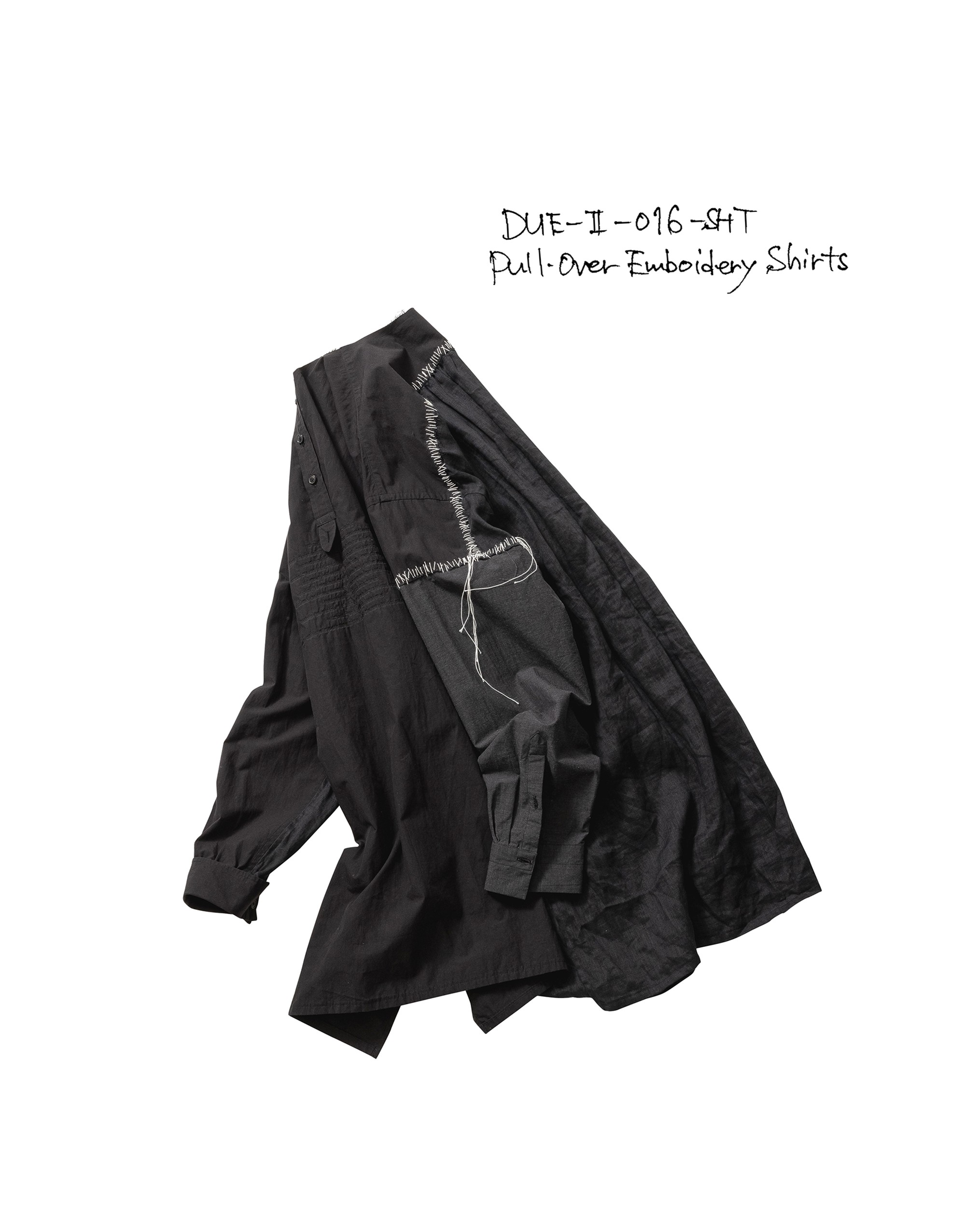 21SS DUE-Ⅱ-016-SHT-BLK PULL-OVER EMBROIDERY SHIRTS
